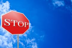 Stop Sign blue sky Stock Photos