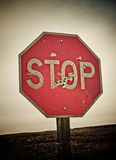 Stop sign with bullet holes Stock Photography