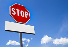 Stop sign with cartel blank Stock Images
