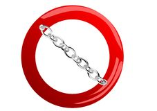 Stop sign with chain Stock Photography