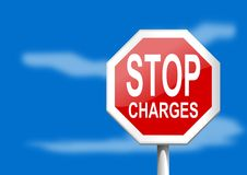 Stop sign charges Royalty Free Stock Image