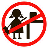 Stop sign with child icon isolated on white background. Children prohibited vector illustration. Kid is not allowed Stock Images