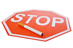 Stop sign and the cigarette Stock Photo