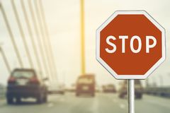 Stop sign by the City road Stock Photography