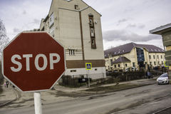 Stop sign in the city of Smolensk in transition Royalty Free Stock Images