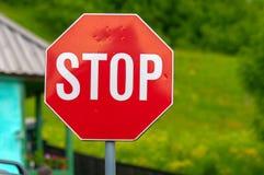 Stop sign closeup photo stock image