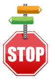 Stop sign with color arrows Royalty Free Stock Image