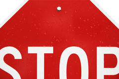 Stop sign concept. Close crop of wet stop sign Royalty Free Stock Photos