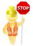 Stop sign construction man Stock Image