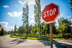 STOP. Sign on day light Stock Photos