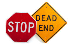 Stop sign and dead end sign on a white background Royalty Free Stock Photo