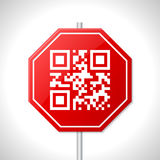 Stop sign design with qr code Royalty Free Stock Photos