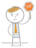Stop Sign. Doodle stick figure holding stop sign Royalty Free Stock Photos