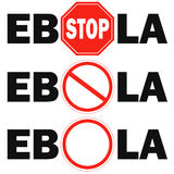 3 stop sign Ebola virus. On white background Stock Images