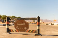 Stop sign at Egypt border stock images