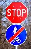 Stop sign and end of the bicycle road Stock Image