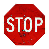 Stop Sign Enforced with Bullet Holes Stock Photos