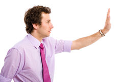 Stop sign, gesture made by young male Royalty Free Stock Photo