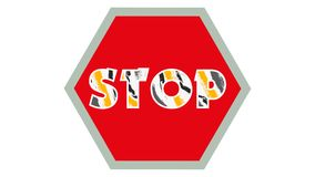Stop Sign Graphic 001 - Red Background - Colorful Text Stop. High Resolution vector illustration