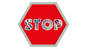 Stop Sign Graphic 002 - Red Background - Colorful Text Stop. High Resolution stock illustration