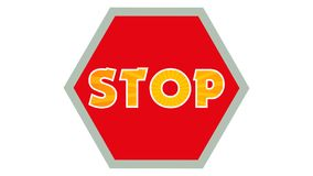 Stop Sign Graphic 003 - Red Background - Colorful Text Stop. High Resolution royalty free illustration