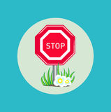 Stop sign with grass and flowers flat design Stock Photography