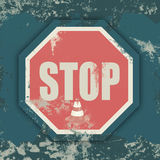 Stop  sign  on  grunge background Stock Photography