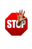 Stop sign and hand Royalty Free Stock Photo
