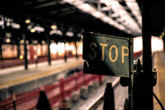Stop Sign at Hoboken Station, New Jersey Stock Image