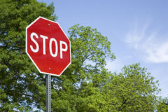 Stop Sign in a Horizontal Format Royalty Free Stock Photography