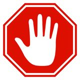 Stop sign icon with hand - vector. For stock Stock Photography
