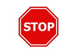 Stop Sign Icon On White Background. Stock Photos