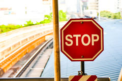 Stop sign icon. Use warning or ban on hazardous locations stock image