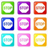 Stop sign icons 9 set Stock Image