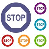 Stop sign icons set Royalty Free Stock Image