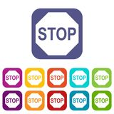 Stop sign icons set Royalty Free Stock Photo