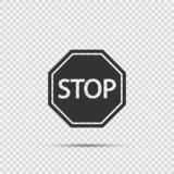 stop sign icons on transparent background stock illustration