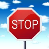 Stop sign illustration. Red stop sign illustration and the blue sky with clouds Stock Image