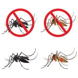 Set Mosquito Vector. Black Silhouette Mosquito Isolated Icon Vector. Stop Sign Vector. royalty free illustration