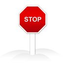 Stop sign Isolated. Red isolated stop sign illustration Stock Photography