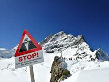 Stop sign on jungfrau. A stop sign on top of Europe Royalty Free Stock Photos