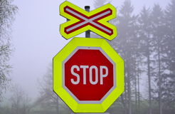 Stop sign at a level crossing. South Bohemia Stock Photo