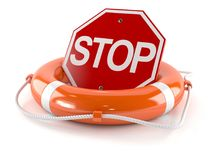 Stop sign with life buoy. On white background Royalty Free Stock Photography