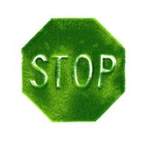 STOP sign made of green grass Stock Images