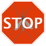 Stop sign with mosquito Royalty Free Stock Photography