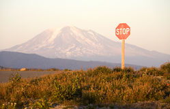 Stop Sign and Mount Adams Stock Image