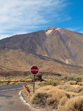 Stop sign with mount teide in background Stock Photography