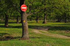 Stop sign in a natural reserve Stock Images