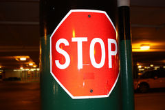 Stop Sign at Night Royalty Free Stock Photography
