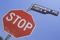Stop sign at Normandie Avenue, South Central Los Angeles, California Stock Image